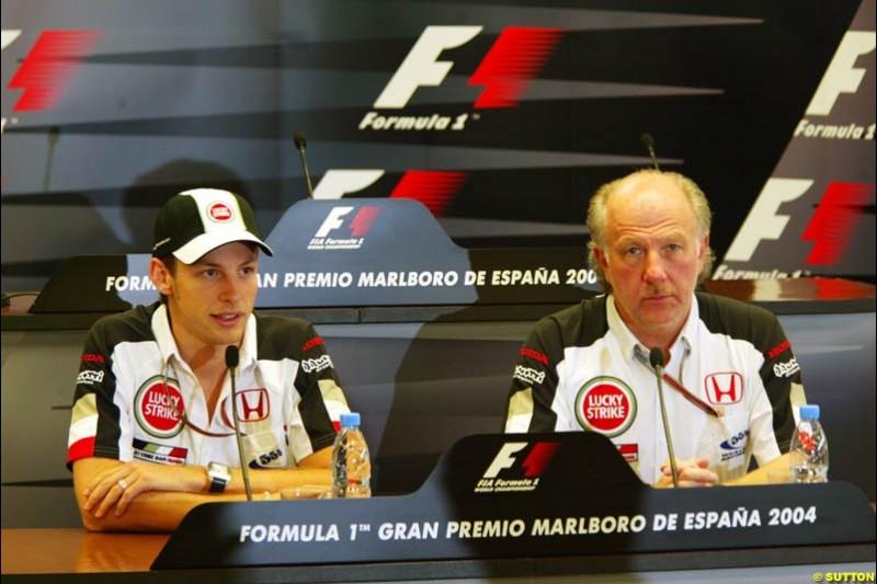 Jenson Button and David Richards, BAR-Honda, May 6th, 2004.
