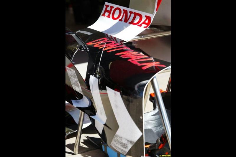 New livery on third BAR-Honda, Spanish GP Preparations, May 6th, 2004.
