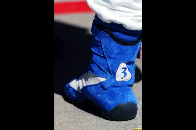 Juan Pablo Montoya's boots, Spanish GP, Friday May 7th, 2004.