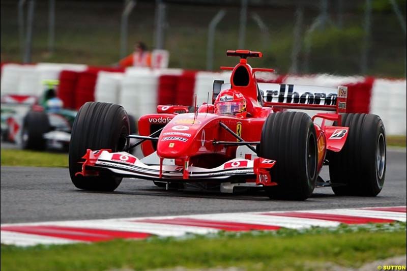 Michael Schumacher, Ferrari, Spanish GP, Friday May 7th, 2004.