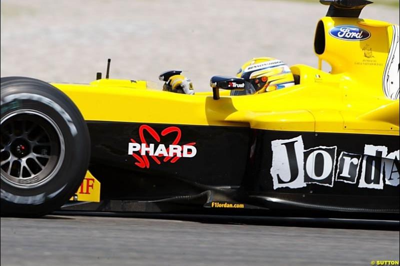 Giorgio Pantano, Jordan-Ford, Spanish GP, Friday May 7th, 2004.