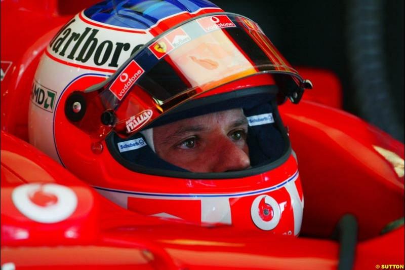 Rubens Barrichello, Ferrari, Spanish GP, Friday May 7th, 2004.
