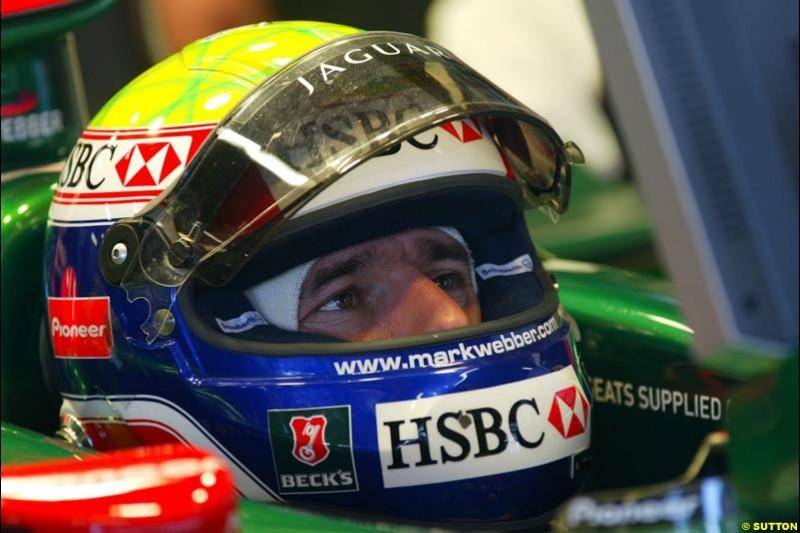 Mark Webber, Jaguar, Spanish GP, Friday May 7th, 2004.