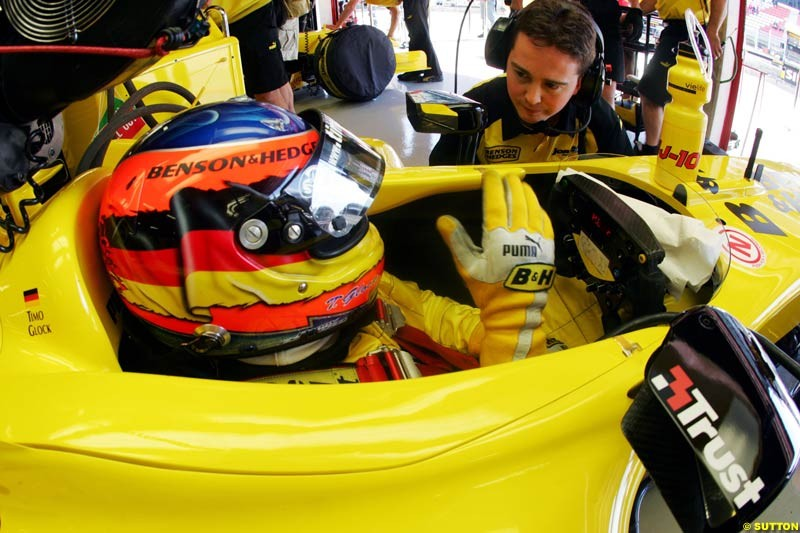 Timo Glock, Jordan-Ford, Spanish GP, Friday May 7th, 2004.
