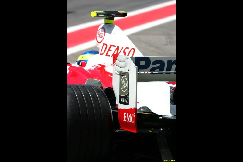 Toyota rear wing detail, Spanish GP, Friday May 7th, 2004.