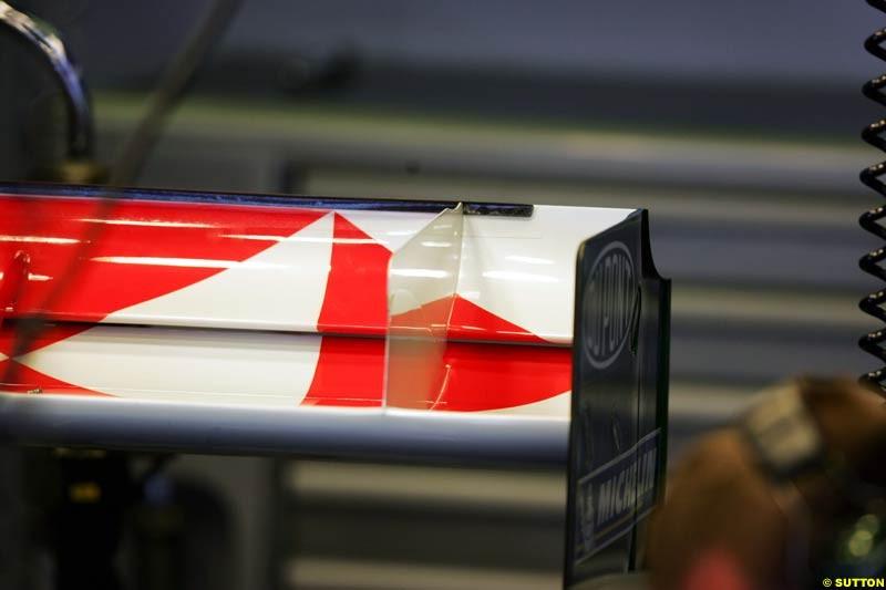 Jaguar rear wing detail, Spanish GP, Friday May 7th, 2004.