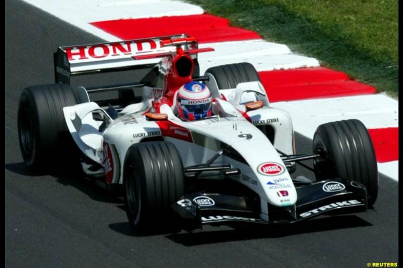 Jenson Button, BAR-Honda, Spanish GP, Friday May 7th, 2004.