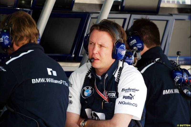 Engineer Sam Michaels, BMW-Williams, Spanish GP, Friday May 7th, 2004.