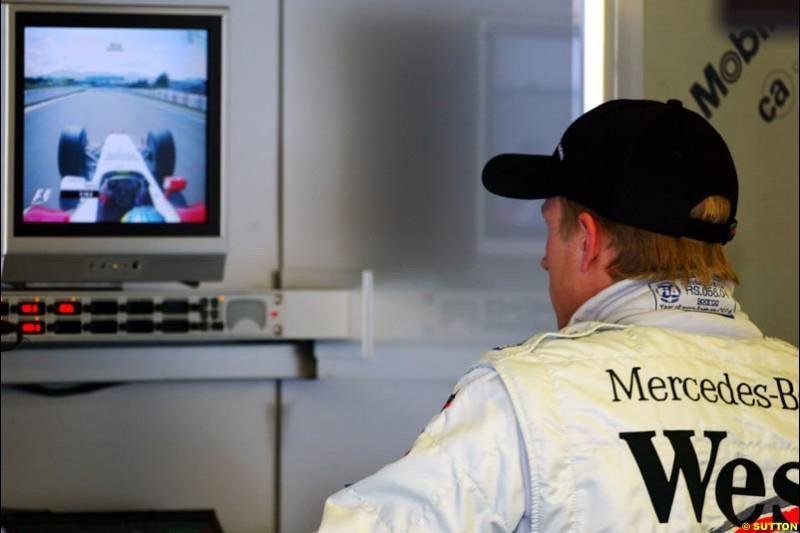 Kimi Raikkonen, Mclaren-Mercedes, Spanish GP, Friday May 7th, 2004.