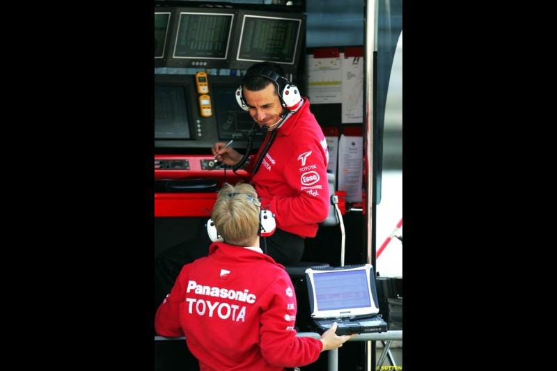 Agne Pasquali, Toyota, Spanish GP, Friday May 7th, 2004.
