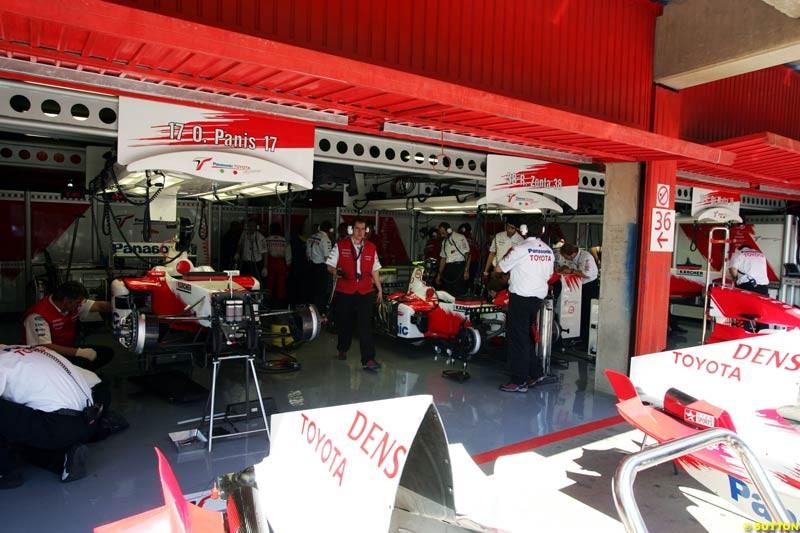 Toyota garage, Spanish GP, Friday May 7th, 2004.