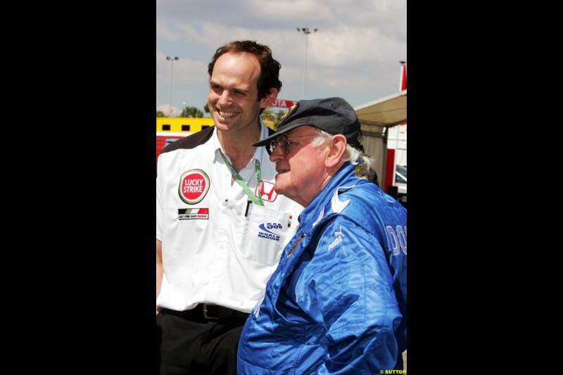 Sid Watkins and Alistair Watkins, Spanish GP, Friday May 7th, 2004.