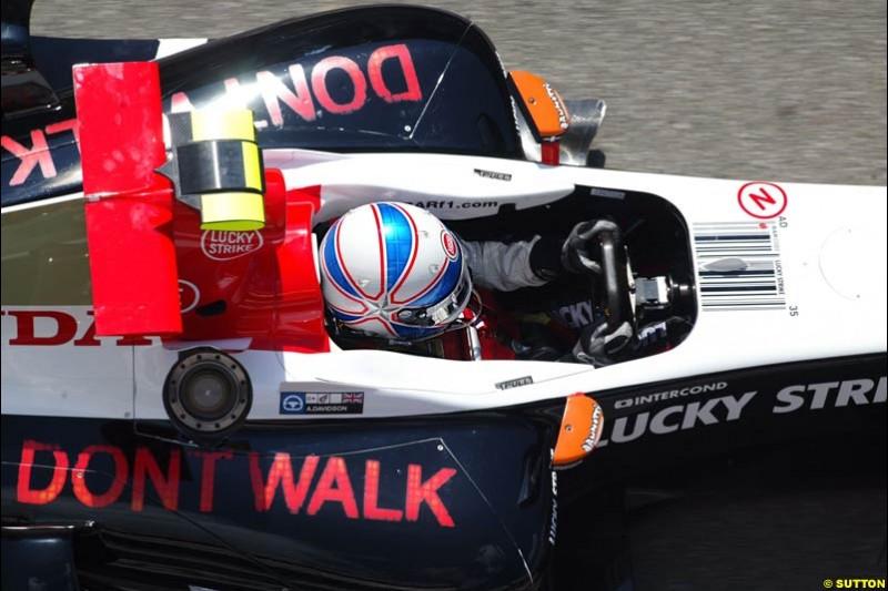 Anthony Davidson, BAR-Honda, Spanish GP, Friday May 7th, 2004.