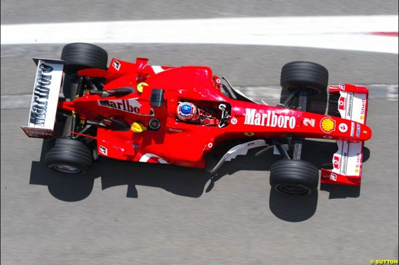Rubens Barrichello, Ferrari, Spanish GP Friday Practice, May 7th, 2004.