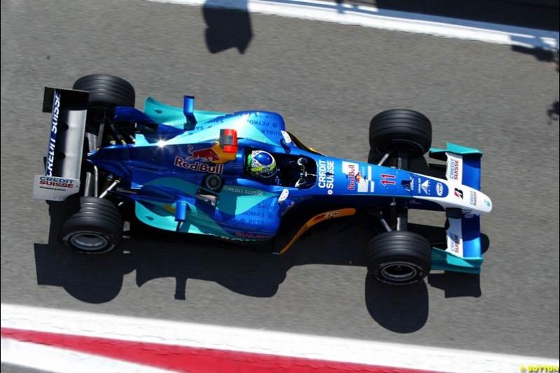 Giancarlo Fisichella, Sauber-Petronas, Spanish GP Friday Practice, May 7th, 2004.