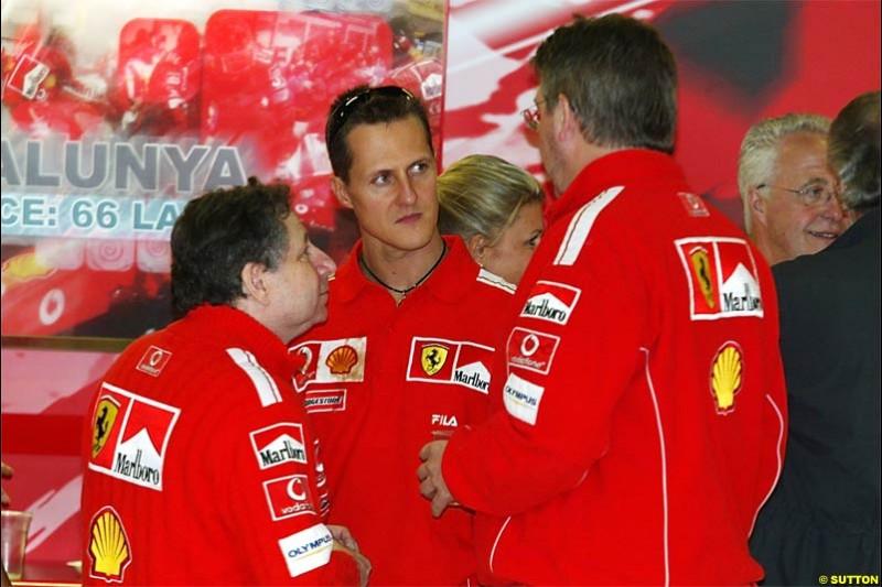 Michael Schumacher, Ferrari, celebrates his 200th Grand Prix this weekend. Spanish Grand Prix Saturday. Circuit de Catalunya. Barcelona, Spain. May 8th 2004.