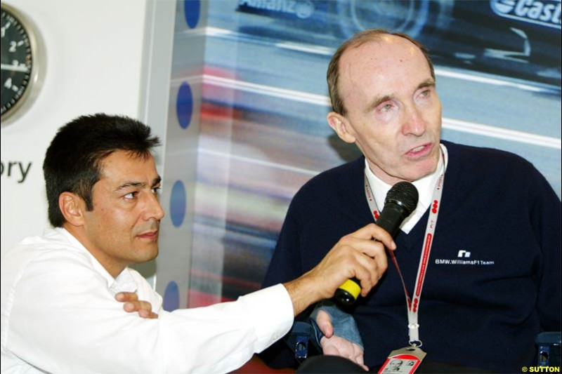 Frank Williams, Williams Team Owner, during a press conference. Spanish Grand Prix Saturday. Circuit de Catalunya. Barcelona, Spain. May 8th 2004.
