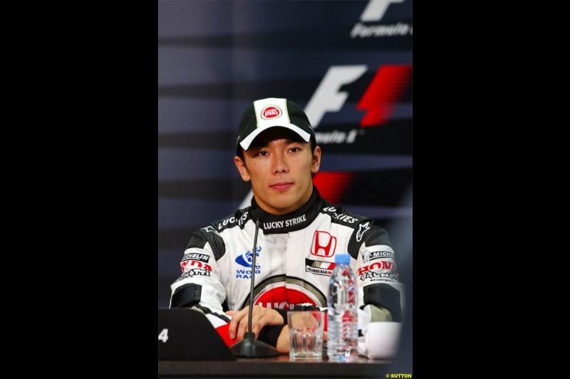Takuma Sato, BAR, during the post qualifying press conference. Spanish Grand Prix Saturday. Circuit de Catalunya. Barcelona, Spain. May 8th 2004.