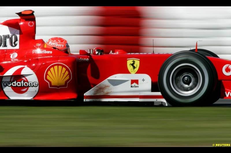 Fastest qualifier Michael Schumacher, Ferrari, Spanish GP, Saturday May 8th, 2004.