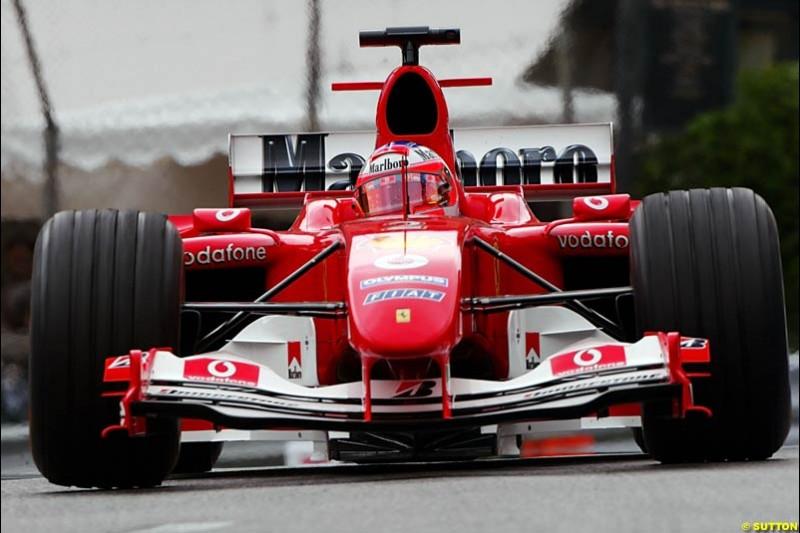Rubens Barrichello, Ferrari, Monaco GP, Thursday May 20st, 2004.