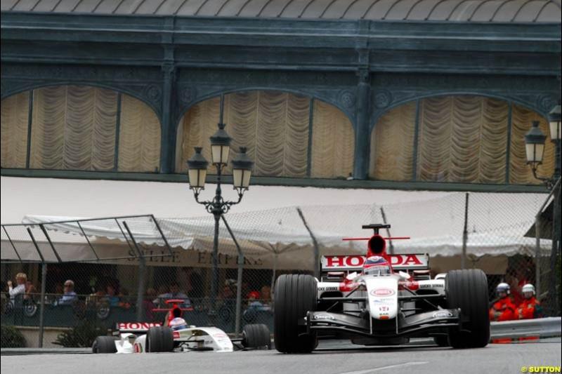 Takuma Sato and Jenson Button, BAR-Honda; Monaco GP, Thursday May 20st, 2004.