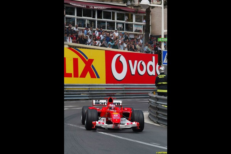 Rubens Barrichello, Ferrar, Monaco GP, Thursday May 20th, 2004.