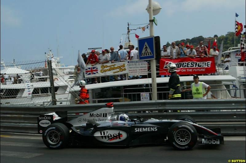 David Coulthard, Mclaren-Mercedes, Monaco GP, Thursday May 20th, 2004.