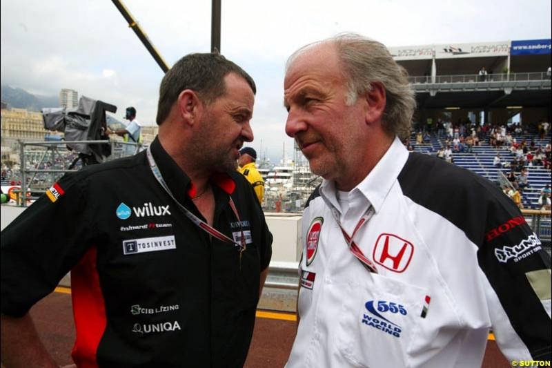 Paul Stoddart, Minardi; David Richards, BAR-Honda; Monaco GP, Thursday May 20th, 2004.