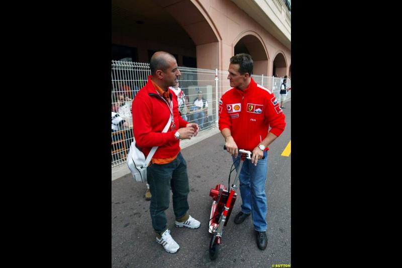 Ivan Capelli and Michael Schumacher, Monaco GP, Thursday May 20th, 2004.