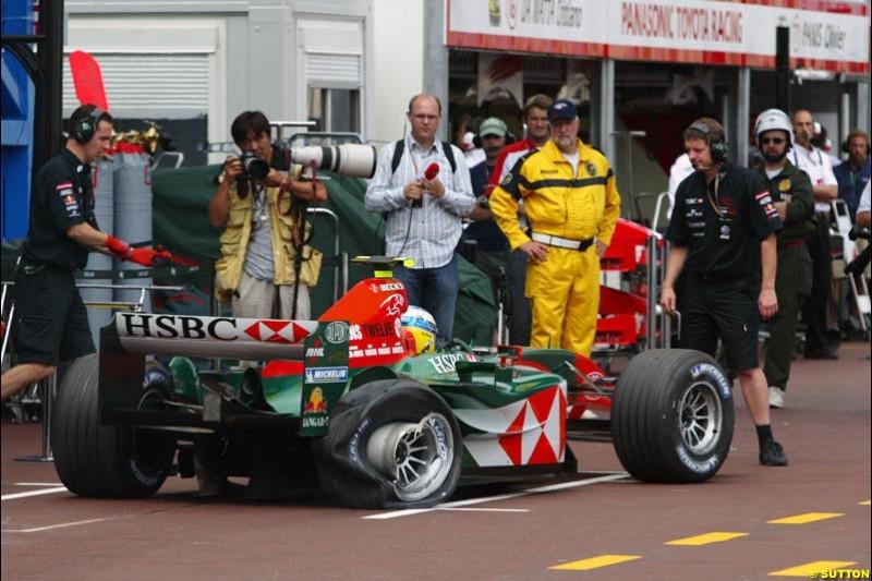 Bjorn Wirdheim, Jaguar, Monaco GP, Thursday May 20th, 2004.