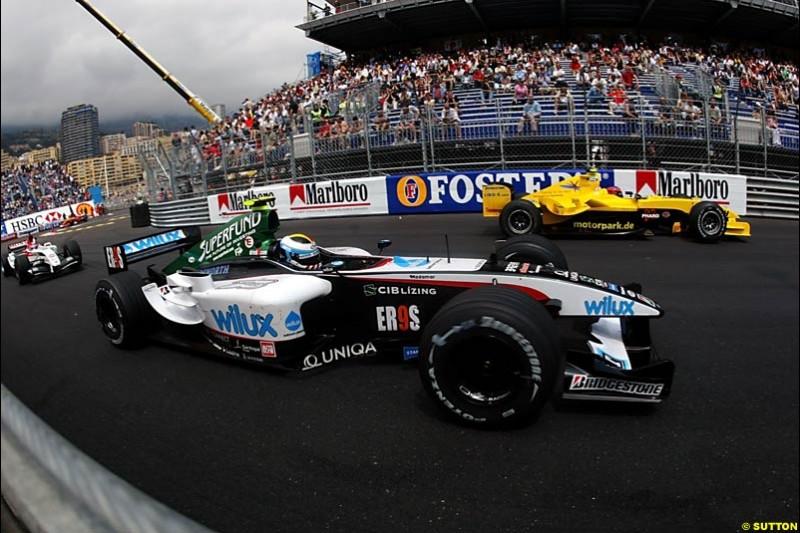 Bas Leinders, Minardi-Cosworth; Timo Glock, Jordan-Ford; Takuma Sato, BAR-Honda; Monaco GP, Thursday May 20th, 2004.