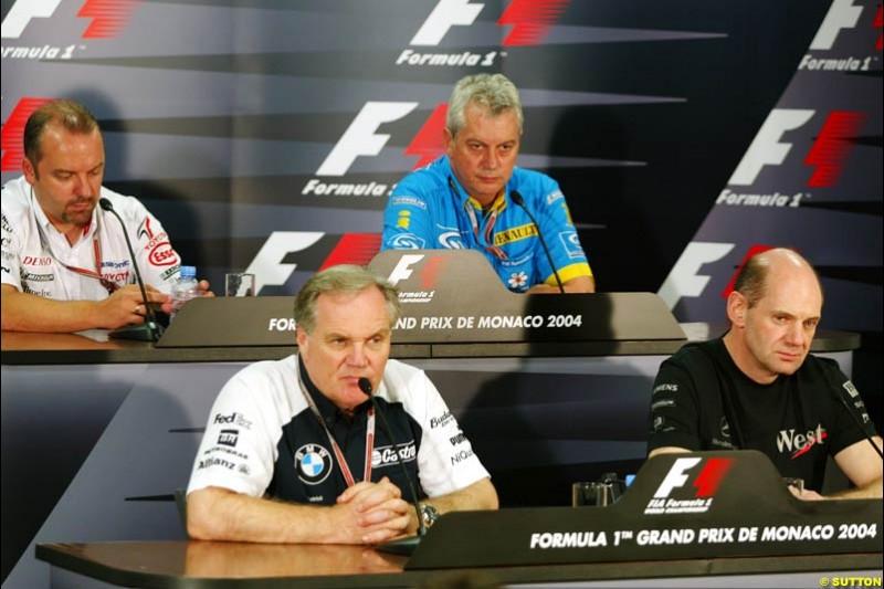 Patrick Head, BMW-Williams; Pat Symonds, Renault; Adrian Newey, Mclaren-Mercedes; Mike Gascoyne, Toyota; Monaco GP, Thursday May 20th, 2004.