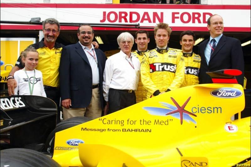 Eddie Jordan, Crown Prince Shaikh Salman of Bahrain, Bernie Ecclestone, Timo Glock, Nick Heidfeld, Giorgio Pantano, and HSH Prince Albert of Monaco; Monaco GP, Thursday May 20th, 2004.