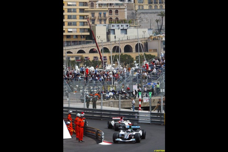 Gianmaria Bruni, Minardi; Takuma Sato, BAR-Honda, Monaco GP, Thursday May 20th, 2004.