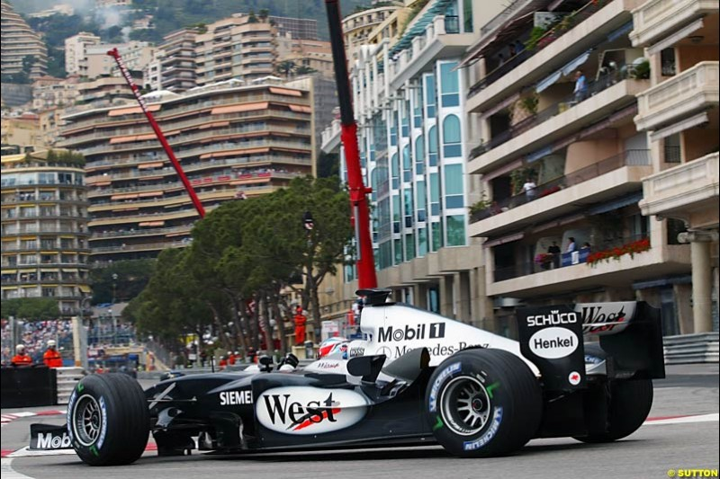 Kimi Raikkonen, Mclaren-Mercedes, Monaco GP, Thursday May 20th, 2004.