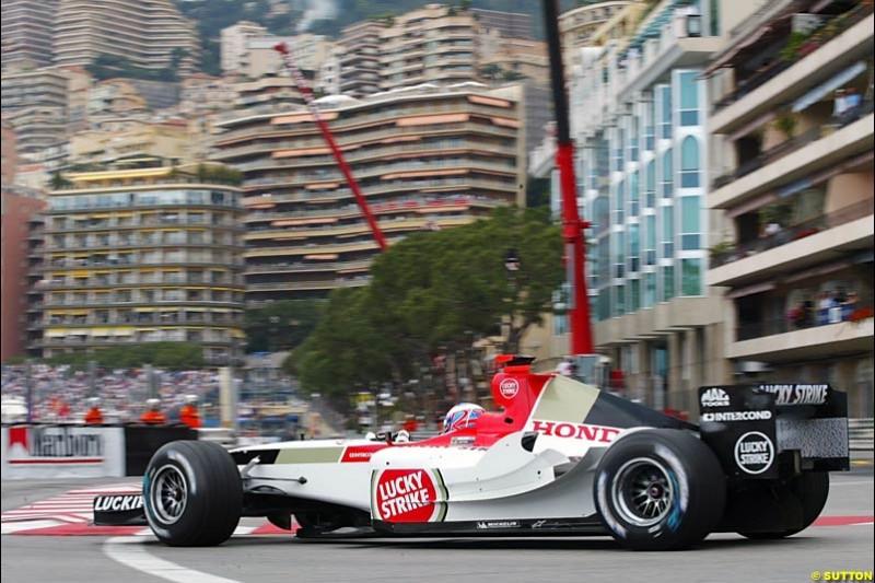 Jenson Button, BAR-Honda, Monaco GP, Thursday May 20th, 2004.