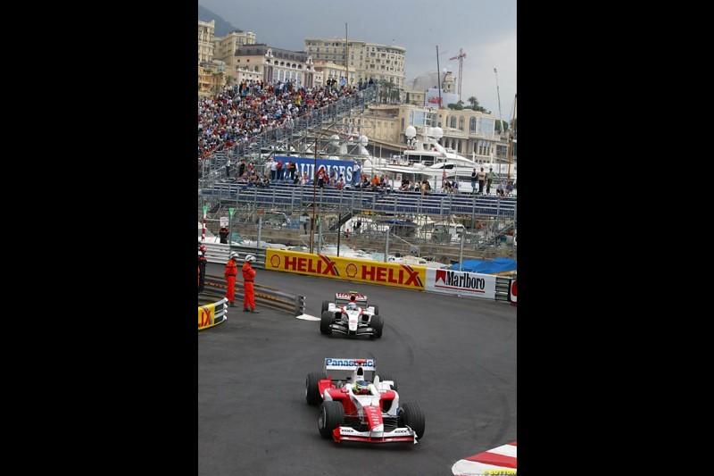 Cristiano da Matta, Toyota; Anthony Davidson, BAR-Honda; Monaco GP, Thursday May 20th, 2004.