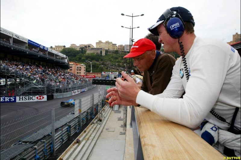 Ralf Schumacher and Niki Lauda, Monaco GP, Thursday May 20th, 2004.