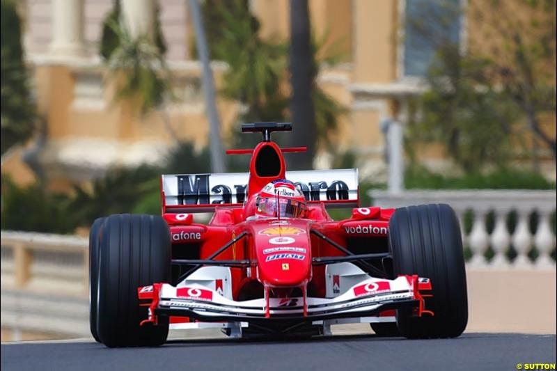 Rubens Barrichello, Ferrari, Monaco GP, Thursday May 20th, 2004.