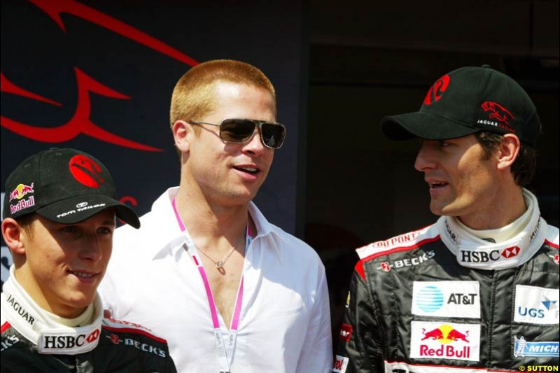 Brad Pitt with the Jaguar drivers at the Monaco Grand Prix, Saturday 22nd May, 2004.