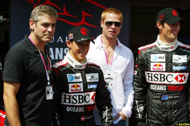 Actors George Clooney and Brad Pitt with the Jaguar drivers at the Monaco Grand Prix, Saturday 22nd May, 2004.