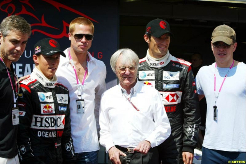 Actors George Clooney, Brad Pitt and Matt Damon with the Jaguar drivers and Bernie Ecclestone at the Monaco Grand Prix, Saturday 22nd May, 2004.