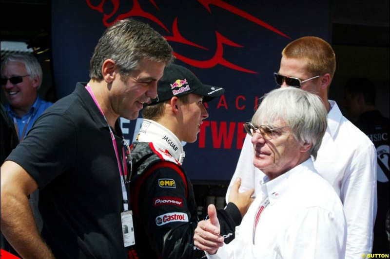 George Clooney talks to Bernie Ecclestone at the Monaco Grand Prix, Saturday 22nd May, 2004.