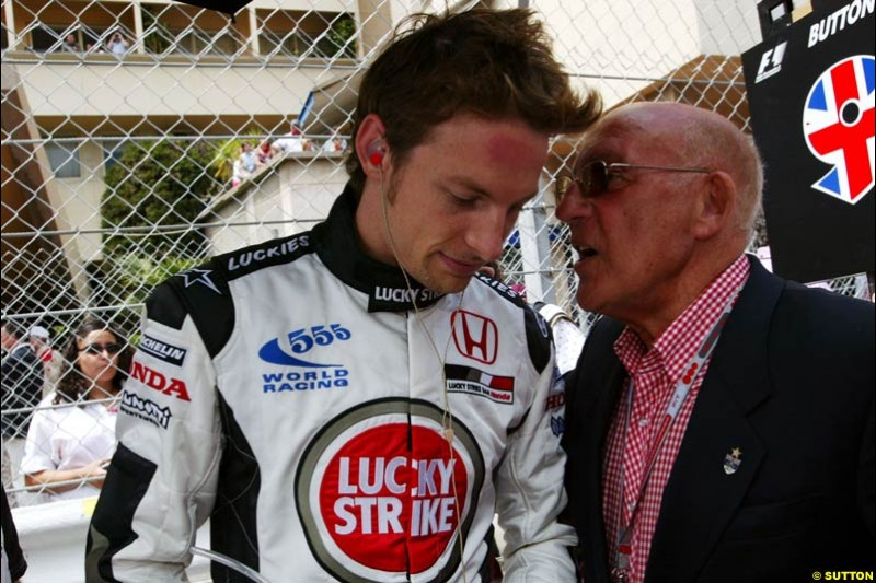 Jenson Button and Sir Stirling Moss, Monaco GP, Sunday May 23rd, 2004.