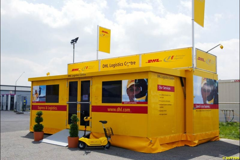 DHL logistics center, European GP, Thursday May 27th, 2004.