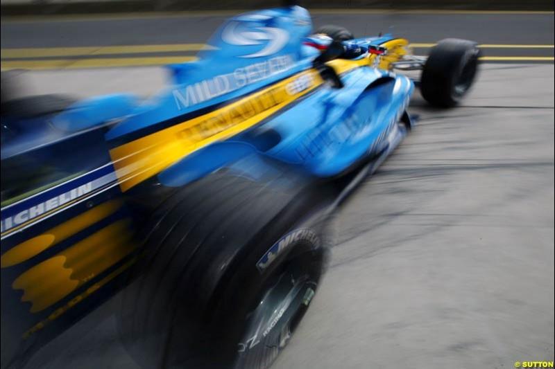 Jarno Trulli, Renault, European GP, Friday May 28th, 2004.