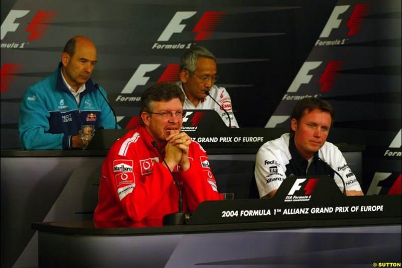Peter Sauber, Tsutomu Tomita, Ross Brawn, and Sam Michael; European GP, Friday May 28th, 2004.