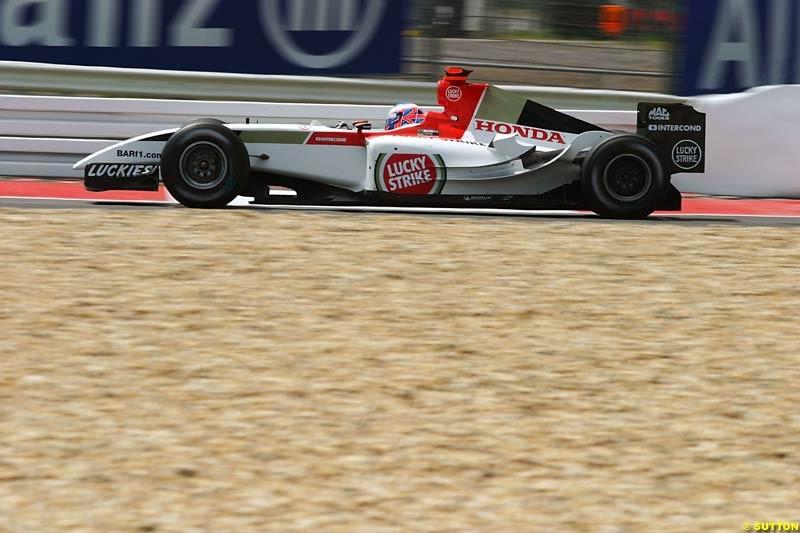 Jenson Button, BAR-Honda, European GP, Friday May 28th, 2004.