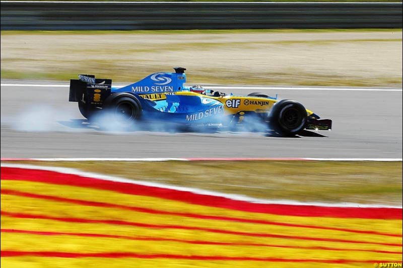 Fernando Alonso, Renault, European GP, Friday May 28th, 2004.