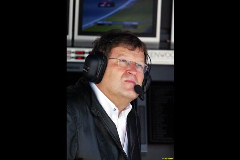 Norbert Haug, Mercedes, European GP, Friday May 28th, 2004.